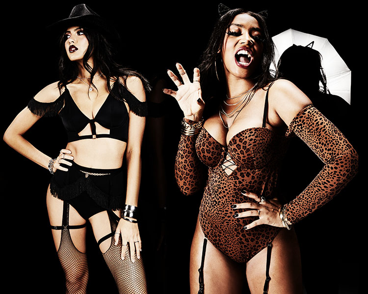 La Senza Halloween. Models featuring the cowgirl costume, and a sexy leopard costume.