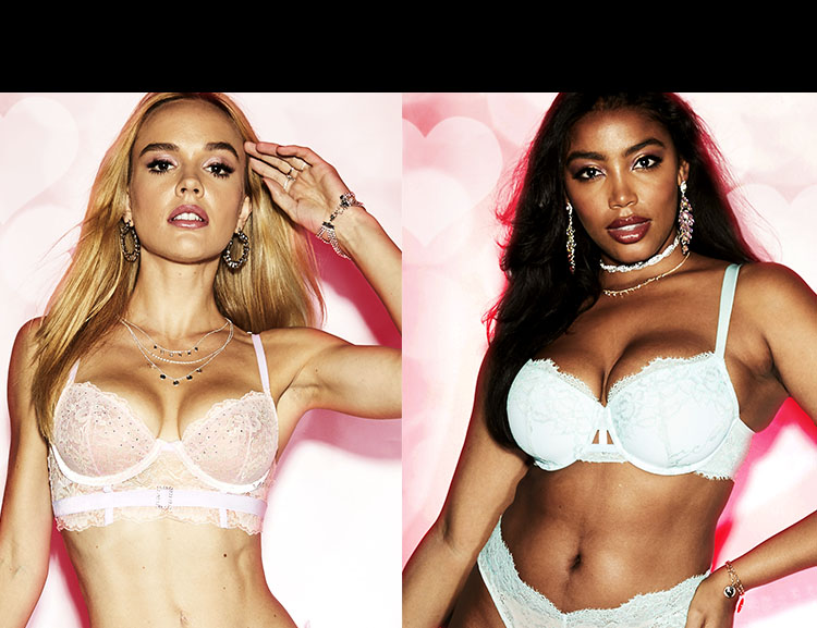 La Senza unlined, lightly lined, light pus up, push up, and up 2 cups bra styles.
