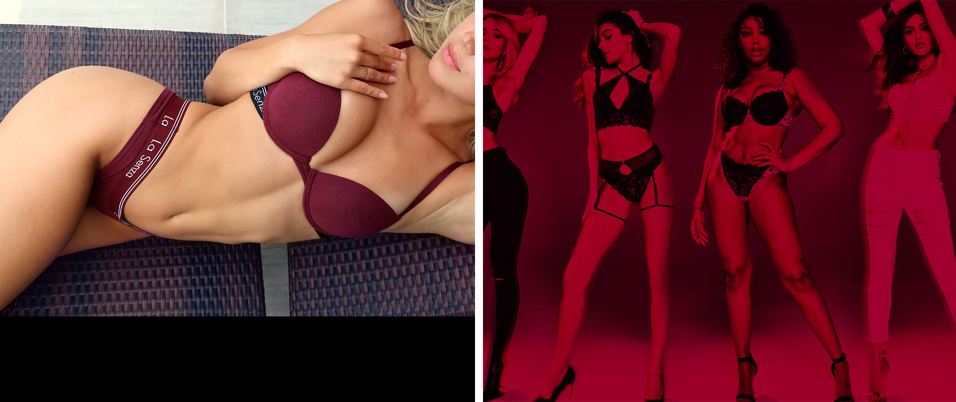 La Senza model wearing a lounge bra and panty.