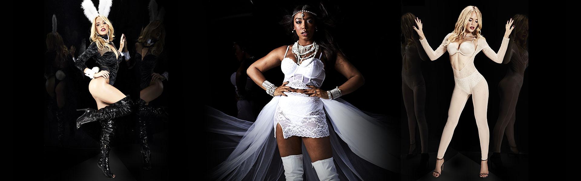 La Senza Halloween. Dark bunny suit, white lace bride costume, and the kylie jenner bodysuit.