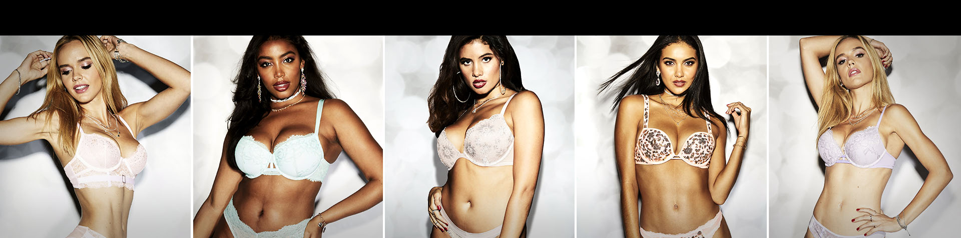 La Senza Bras. Unlined, Lightly lined, Ligh Push Up, Extreme Push up. Each one is featured on a model.