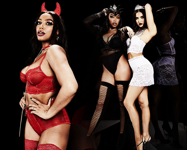La Senza Halloween. 4 La Senza models wearing a variety of costumes including a red devil, bride, and a school girl.