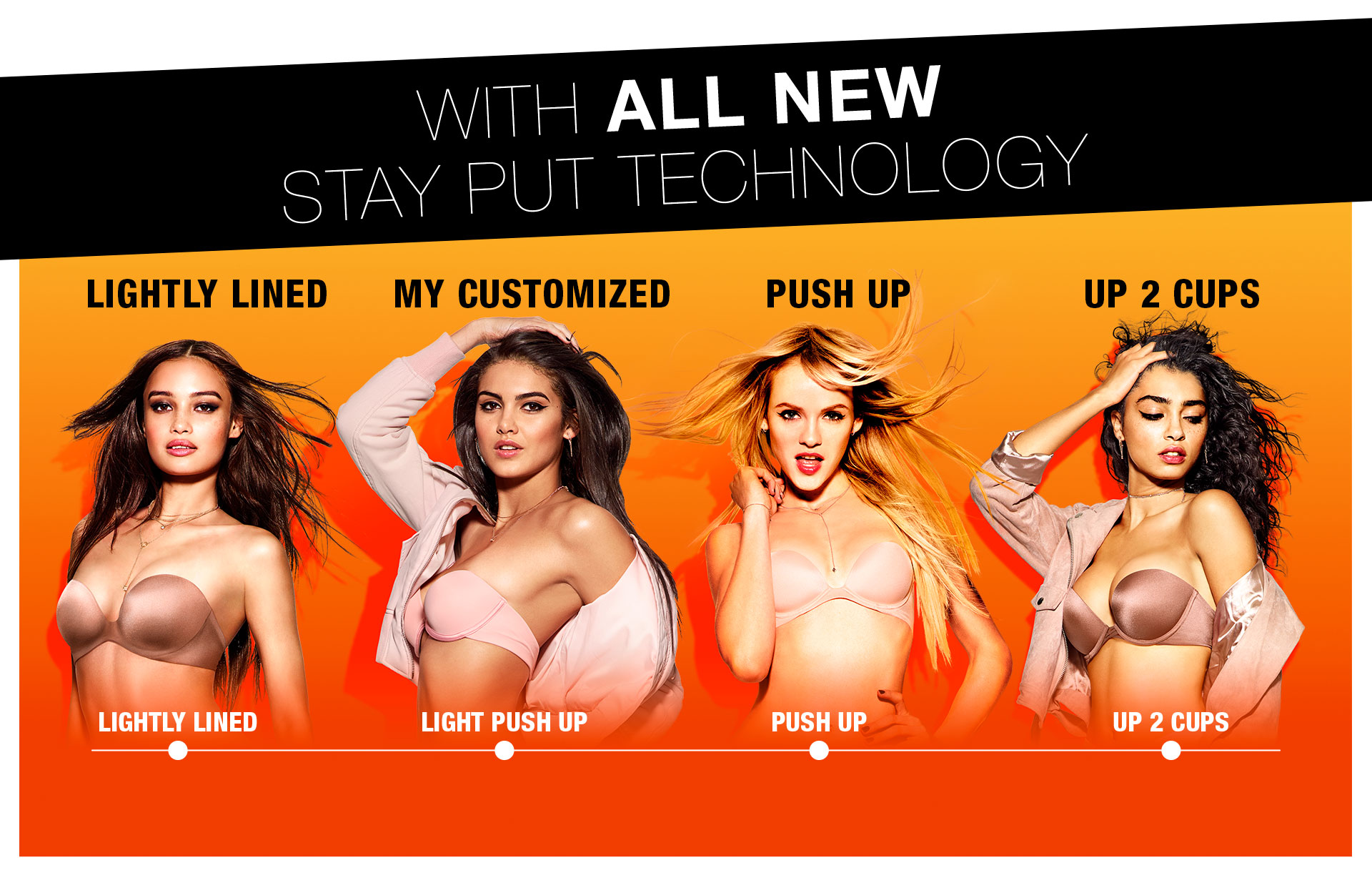 With all new stay put technology. Light lined. My customized. Push up. Up 2 cups.